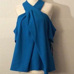 NWT Rachel Roy teal cold shoulder blouse # 6